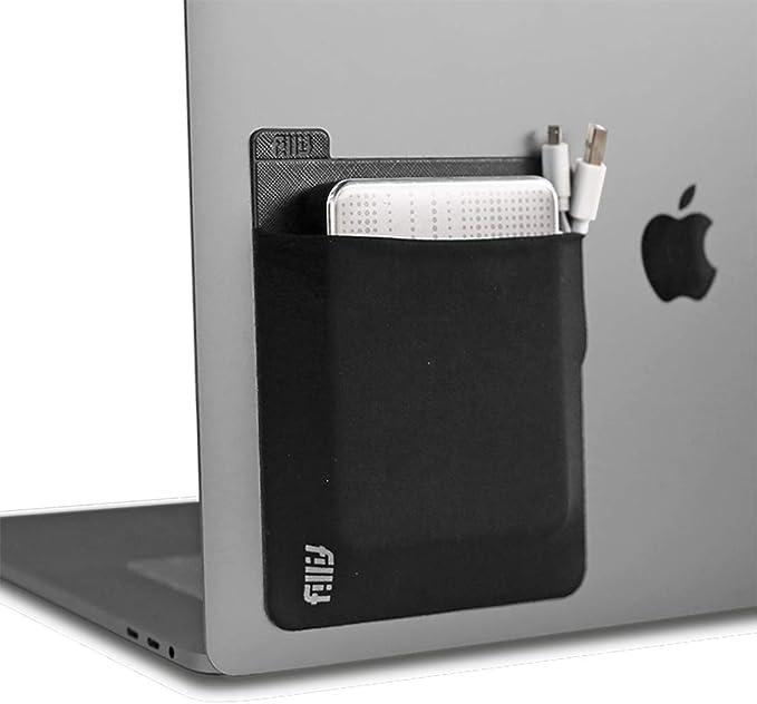 Fillitポケット、ブラック、再利用可能な粘着ポケット外付けハードドライブのストレージ、バッテリーパック、ケーブル、およびその他の小さな個人アイテム