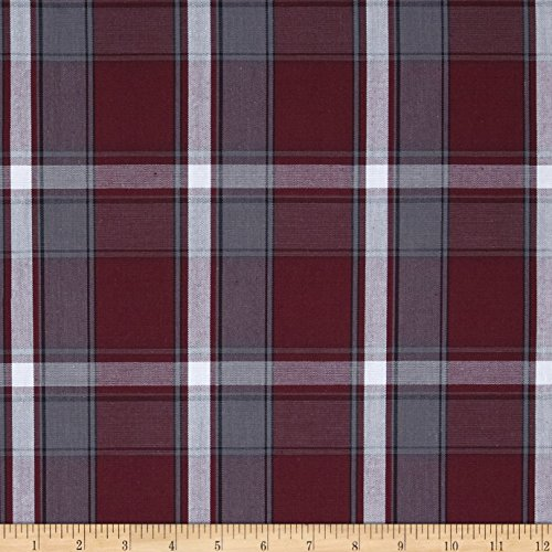 Carr Textile Poly/Cotton Uniform Plaid Maroon/Gray/White Poplin Fabric By The Yard