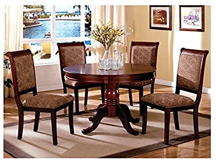 Amazon.com - Antique Upholstered Cherry 5-Piece Round Dining ...