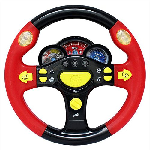 VKOPA Turn and Learn Driver Kids Driving the Steering Wheel - with Music, Various Driving Sounds(black red) (Driving Kids)