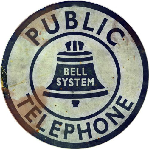 Vintage Looking Public Bell System Telephone Reproduction Sign