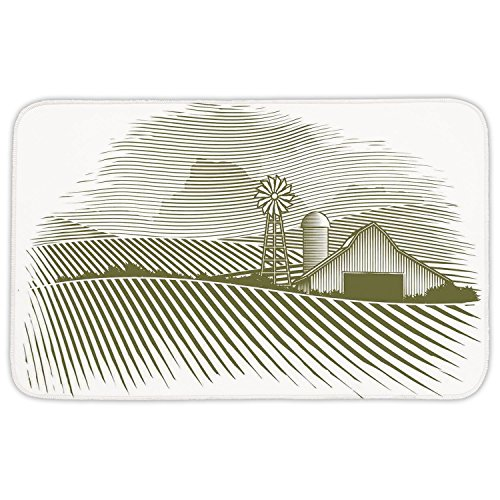 Rectangular Area Rug Mat Rug,Farm House Decor,Wooden Cottage with Windmill Meadows and Shruberry Idyllic Landscape Decoration,Green White,Home Decor Mat with Non Slip Backing by iPrint