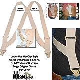 Hold-Ups No-buzz Undergarment 1 1/2 Wide Trucker Style Hip Clip Suspenders
