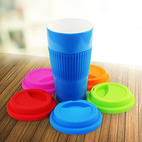 Yilove Silicone Cup Lids,Spill-Proof Lid,Anti Dust,Reusable Coffee Mug Lids,5 Pack(Pinco Type)