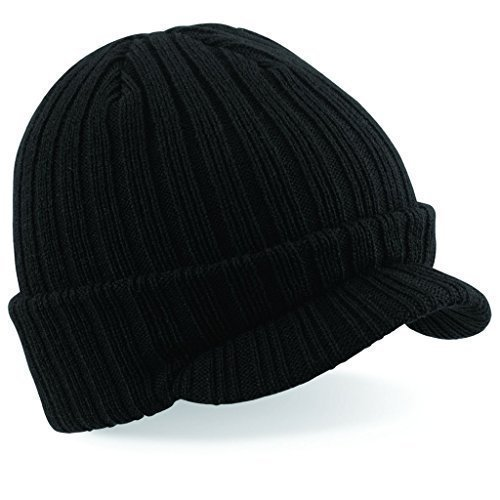 60 Second Makeover Limited Mens Black Peaked Beanie Hat Winter Snow Board Skiing Ski Gashion Hat Knitted