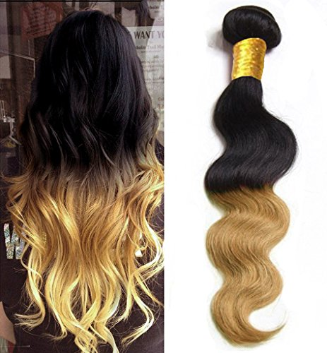 (eCowboy 6A Brazilian Human Hair Body Wave Hair Bundle On Sale Best Quality Hair Extensions Weft 100 Human Hair Weave GUARANTEED Dip Dyed Ombre Two-Tone Color #1B/#27-16 Inch )