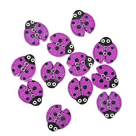 Tarjetas decoraci/ón de Ropa 18 * 16mm Nowbetter Paquete de 12 Bonitos Botones de Madera con Forma de Mariquita para Manualidades /álbumes de Recortes Costura Amarillo