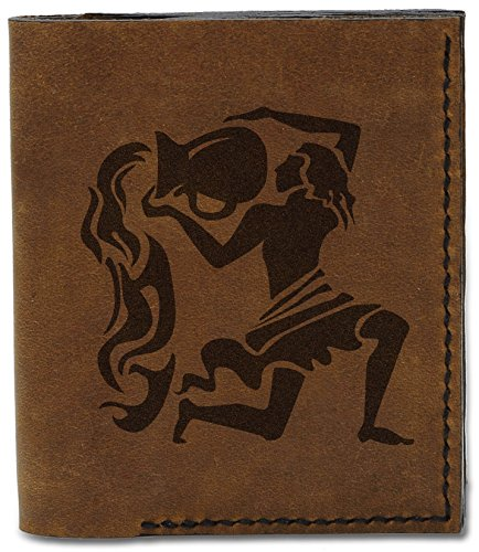 b Men's Leather Handmade Genuine Natural Zodiac Black Wallet Aquarius 04 MHLT Sign 7rqwSP7