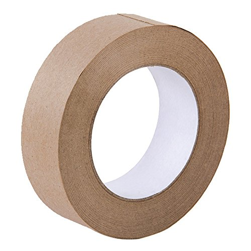 Looneng Water Activated Gummed Kraft Paper Tape - 36mm Width x 54.7 yd Length - Stretching Paper, Tamper - Kraft Tape Paper Gummed