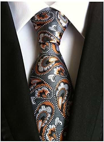 Allbebe Men's Fashion Black Orange Jacquard Woven Silk Tie Microfiber Necktie