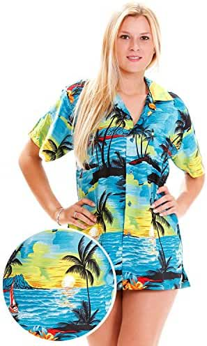 Funky Hawaiian Blouse Women Short-Sleeve Front-Pocket Surf Beach Turquoise