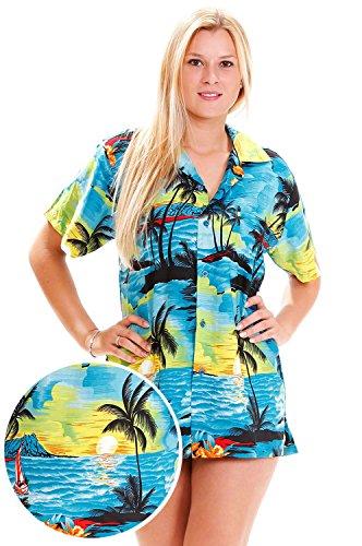 Funky Hawaiian Shirt For Women, Surf, turquoise, (Womens Hawaiian Shirts)
