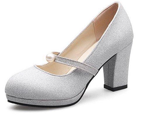 AllhqFashion Damen Mittler Absatz Rein Ziehen auf Blend-Materialien Rund Zehe Pumps Schuhe Silber