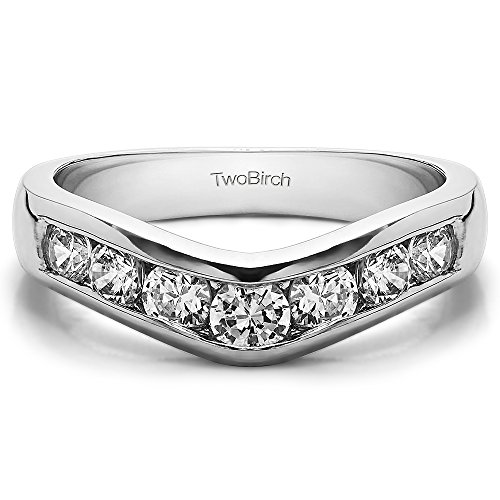 Diamonds (G-H,I2-I3) Traditional Contour Band In Sterling Silver(0.42Ct)Size 3 To 15 in 1/4 Size Interval by TwoBirch