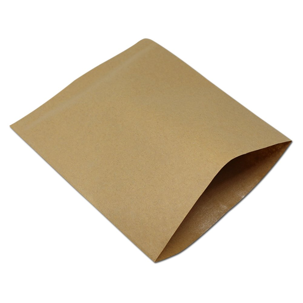 100 Pieces 13x15 cm Paperboard Oil-Proof Muffin Macaron Bakery Take Out Containers Bags Kraft paper Grease Proofing Paperbag for Cooking Kitchen Snack Craft Paper Oil Proof Dining Eatery Pouch