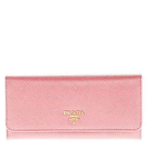 Prada Women's Saffiano Flap Wallet with Badge Holder Pink