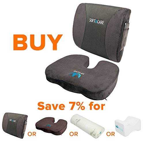 Softacare Seat Cushion Coccyx Orthopedic Memory Foam And