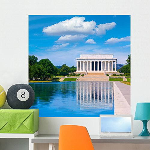 Wallmonkeys FOT-78718741-36 WM362516 Abraham Lincoln Memorial Reflection Pool Washington Peel and Stick Wall Decals H x 36 in W, 36