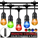 Outdoor String Lights LED Patio RGB Color Changing String Lighting 48FT 24sockets Patio Lights Outdoor Lights Color Bulbs Light for Patio Cafe Garden Hotel Party Decoration
