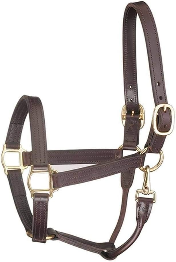 Tack Shack of Ocala Leather, Cob Size Horse Halter, 褐色 with Solid Brass Hardware and Snap, Triple Stitched and Rolled Throat