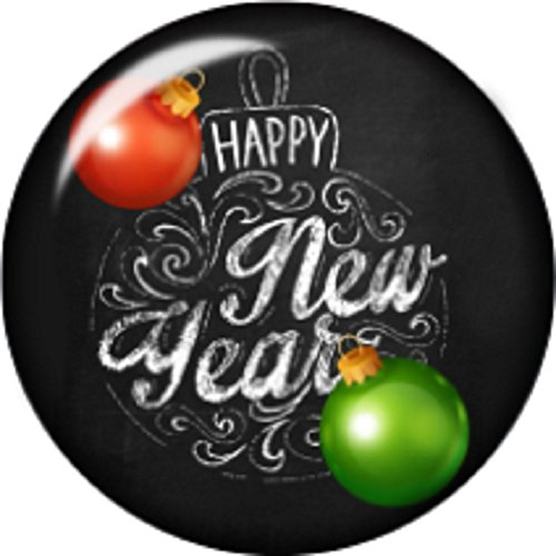 Snap button Happy New Year 18mm charm chunk interchangeable ()