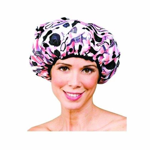 Betty Dain Boudoir Shower Cap, Parisian Print/Light Pink Terry Lining