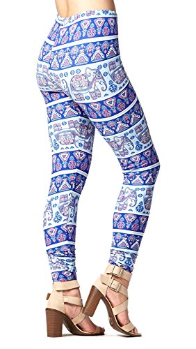 (Super Soft High Waisted Printed Leggings for Women - Elephant Crossing - Small/Medium (0-12))