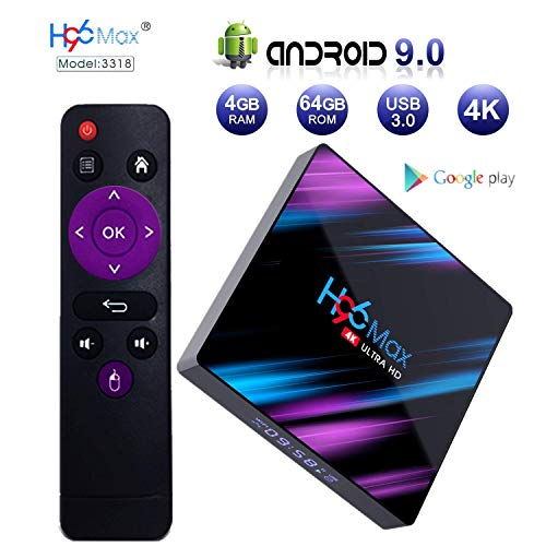 Android 9.0 TV Box, H96 MAX 4GB 64GB Android Box USB 3.0/BT 4.0/2.4G 5G Dual WiFi/3D/4K/H.265 KD18.1 Smart Android TV…