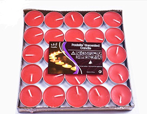 Yoyolala Tealight Candles, Quality Unscented Candle Set of 50 Pieces of Red Color