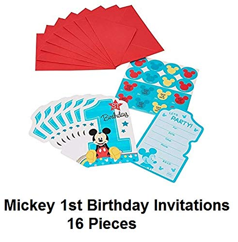 Disney Mickey Mouse Baby Boys 1st Birthday Party Invitations 16 Count with Save the Date Stickers (Birthday Invitations Mickey Mouse)
