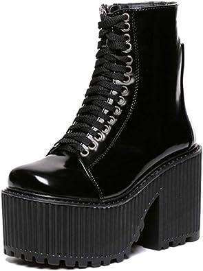Bottines à la Mode pour Femmes Punk de Style Gothique à