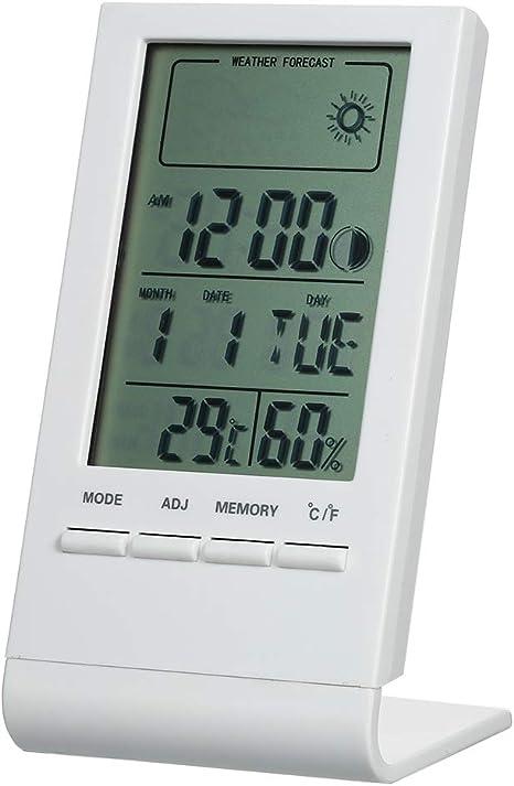 JKHESDF Mini termómetro Digital higrómetro Interior Temperatura Ambiente Humedad medidor Reloj pronóstico del Tiempo máxima Pantalla de Valor mínimo,White: Amazon.es: Deportes y aire libre