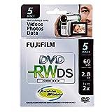Fujifilm 25322008 8cm DVD-RW 2.8GB Rewritable Double Sided DVD, 5-Pack