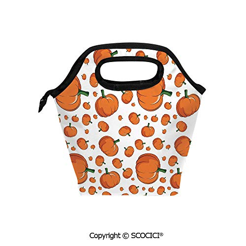 Reusable Printed Design Lunch Bag Halloween Inspired Pattern Vivid Cartoon Style Plump Pumpkins Vegetable Decorative Lunch Tote bag for Work and School.]()