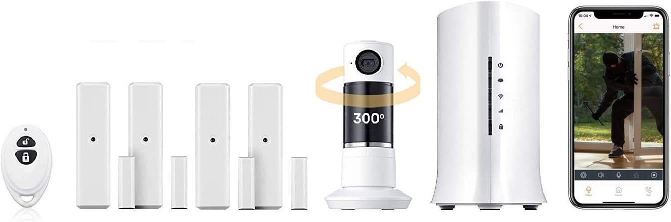 Home8 Video-Verified Interactive Alarm Smart Security System, Full Panoramic Twist Camera, 2-Way Audio, and Night Vision, Door/Window Sensors, Indoor Siren, Keychain Remote (Home Security System)