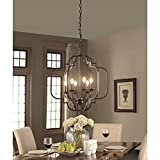 Modern Farmhouse Chandelier Suitable For Dining Rooms And Entryways With High Or Low Ceilings. Candle-Style Light Fixture Provides Multidirectional Lighting. Hanging Pendant Lamp Creates Timeless Feel For Sale