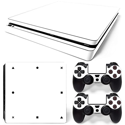 Gam3Gear Vinyl Decal Protective Skin Cover Sticker for PS4 Slim Console & Controller - White