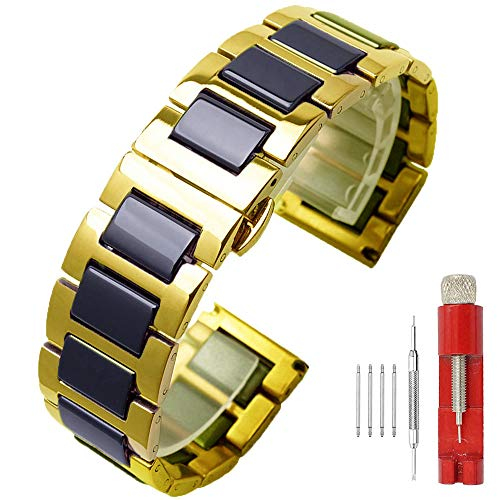 (Two Tone Black Watch Strap Ceramic Band 18mm Watch Bands Stainless Steel Deployment Clasp Trendy Gold Watch Bracelet for Womens)