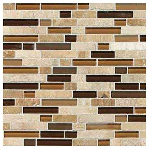 Stone Radiance Tile Caramel/Travertino Blend Random SA58 Glass and Stone Mosaic