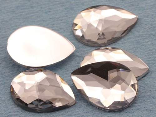18x13mm Crystal H102 Flat Back Teardrop Acrylic Jewels High Quality Pro Grade - 30 (Pear Shaped Beads)