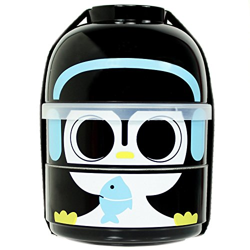 CuteZcute 2-Tier Kids Bento Lunch Box Food Container, Baby Cool Penguin (Kokeshi Bento Container compare prices)