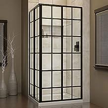DreamLine SHEN-8134340-89 French Corner Sliding Shower Enclosure In Satin Black Finish 34-1/2-Inch D x 34-1/2-Inch W x 72-Inch H