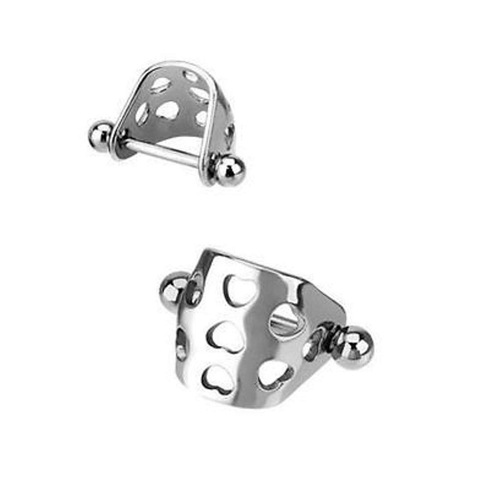 rini/_mc2 1 Pcs Surgical Steel Hearts Helix Tragus Shield Barbell Earrings Cartilage Piercing