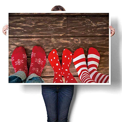 """SCOCICI1588 Art Canvas Prints feet wear Socks on Wood Floor Family at Home Xmas Holidays Concept Painting,60"""" W x 32"""" L on Canvas Wall Art for Bedroom Home Decorations(Frameless)"""