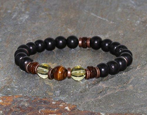 (8mm Tiger Eye, Citrine & Ebony Bracelet, AA Grade, Healing Jewelry, Yoga Mala Beads, Yoga Gift, Gift for Her, Gift for Him, Healing Crystals)
