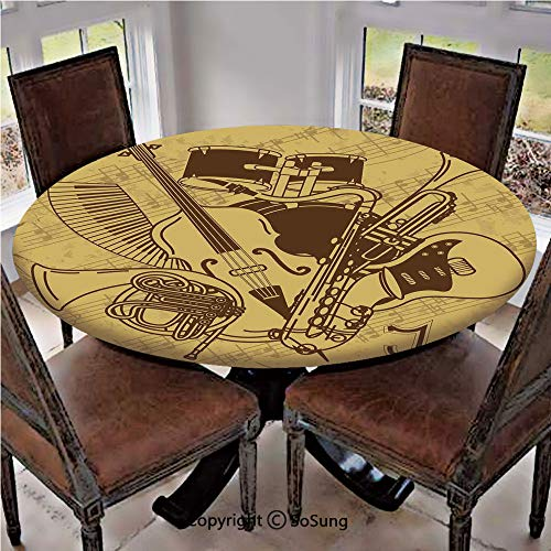 Elastic Edged Polyester Fitted Table Cover,Jazz Music Equipments with Vintage Background Retro Style Music Print Home Decor,Fits up 45