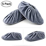 Wispun 5 pairs Washable thick non-slip bottom shoe covers velvet shoes cover Reusable Shoe Covers for Household,Office,Machine Room and Realtors(Gray)