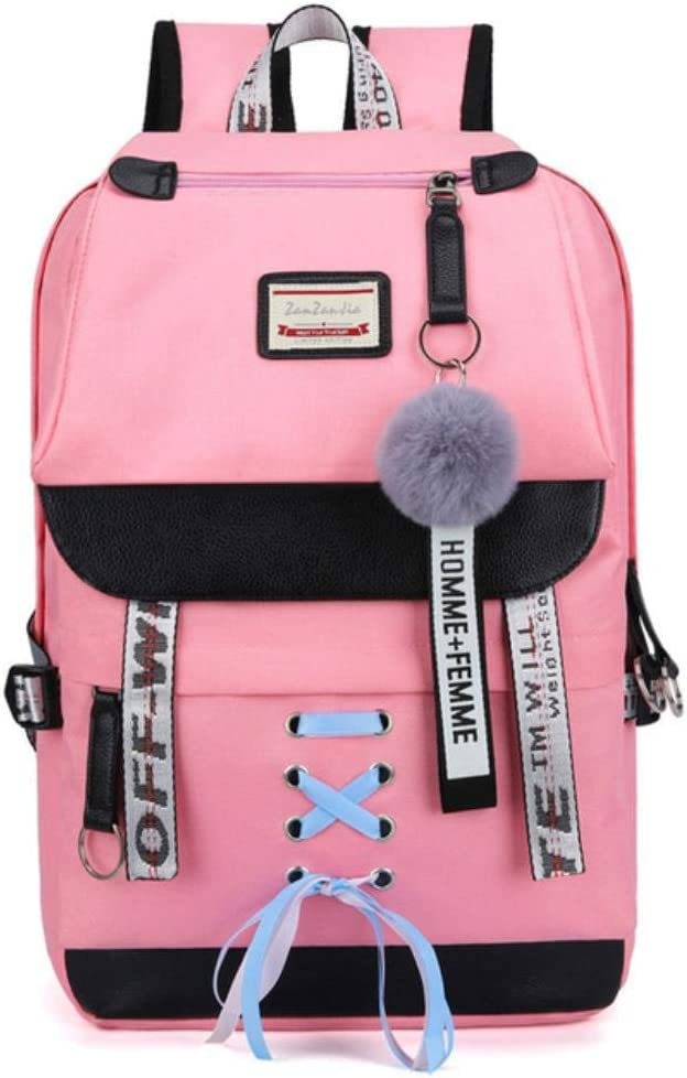 SELLA Canvas Usb School Bags for Girls Teenagers Backpack