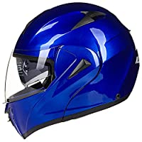 ILM 10 Colors Motorcycle Flip up Modular Helmet DOT (M, Blue) from ILM