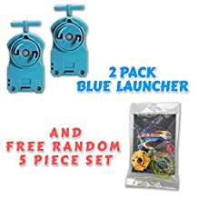 Beyblade 2 Pack BB-17 Blue String Launcher + Free 5 Piece Lot Random Parts Customize Pack includes Tips Energy Rings Spin Tracks Face Bolts - US Seller
